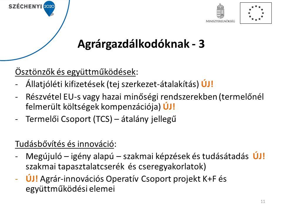 Agrárgazdálkodóknak - 3 Ösztönzők és együttműködések: -Állatjóléti kifizetések (tej szerkezet-átalakítás) ÚJ! -Részvétel EU-s vagy hazai minőségi rend