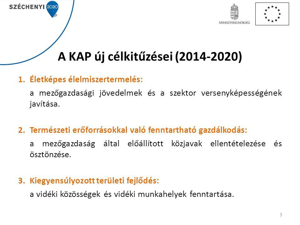 A KAP új célkitűzései (2014-2020) 1.Életképes élelmiszertermelés: a mezőgazdasági jövedelmek és a szektor versenyképességének javítása. 2.Természeti e