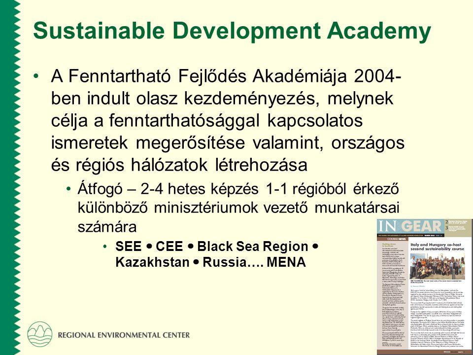 www.rec.org Sustainable Development Academy A Fenntartható Fejlődés Akadémiája 2004- ben indult olasz kezdeményezés, melynek célja a fenntarthatósággal kapcsolatos ismeretek megerősítése valamint, országos és régiós hálózatok létrehozása Átfogó – 2-4 hetes képzés 1-1 régióból érkező különböző minisztériumok vezető munkatársai számára SEE CEE Black Sea Region Kazakhstan Russia….