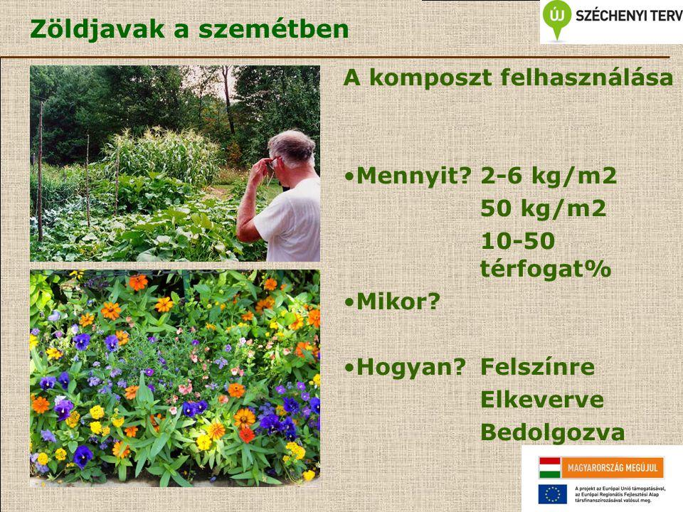 Zöldjavak a szemétben A komposzt felhasználása Mennyit?2-6 kg/m2 50 kg/m2 10-50 térfogat% Mikor? Hogyan?Felszínre Elkeverve Bedolgozva