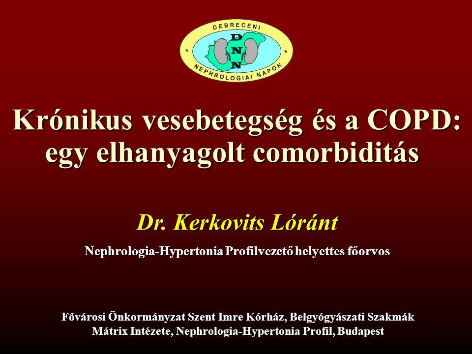 Krónikus vesebetegség és a COPD: egy elhanyagolt comorbiditás Dr. Kerkovits Lóránt Nephrologia-Hypertonia Profilvezető helyettes főorvos Fővárosi Önko