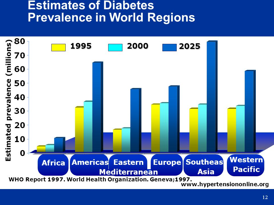 12 Estimated prevalence (millions) Estimates of Diabetes Prevalence in World Regions 2025 1995 2000 Africa AmericasEastern Mediterranean Europe Southe