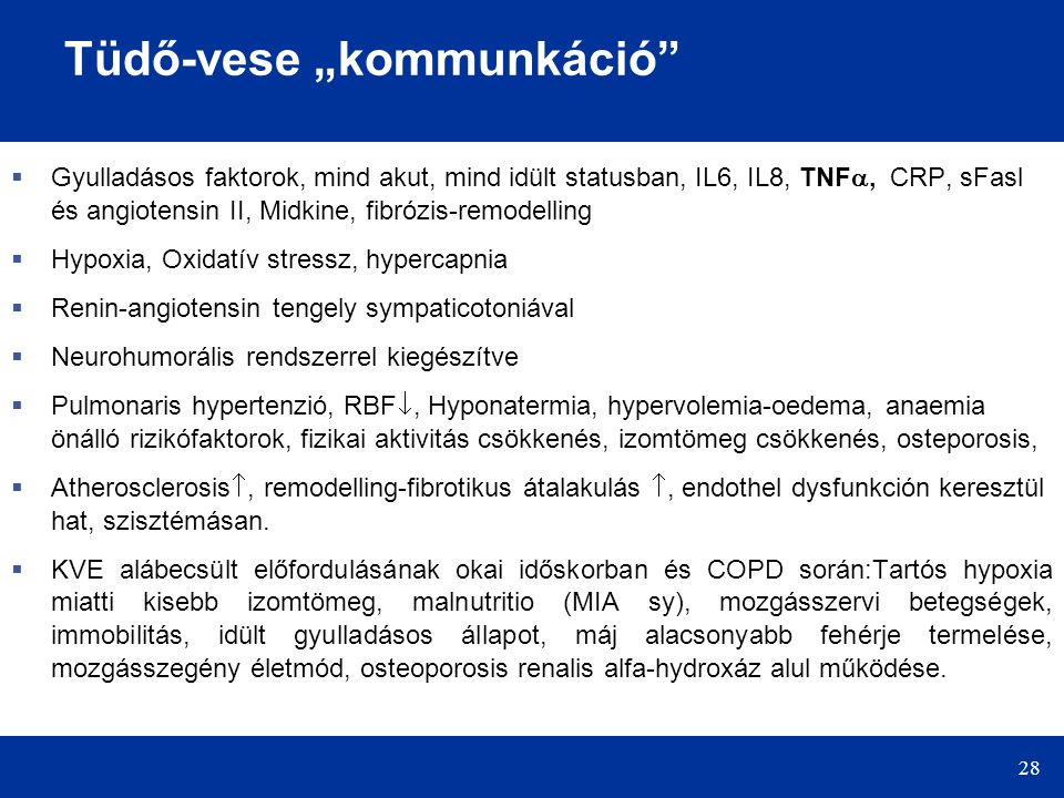 """28 Tüdő-vese """"kommunkáció  Gyulladásos faktorok, mind akut, mind idült statusban, IL6, IL8, TNF , CRP, sFasl és angiotensin II, Midkine, fibrózis-remodelling  Hypoxia, Oxidatív stressz, hypercapnia  Renin-angiotensin tengely sympaticotoniával  Neurohumorális rendszerrel kiegészítve  Pulmonaris hypertenzió, RBF , Hyponatermia, hypervolemia-oedema, anaemia önálló rizikófaktorok, fizikai aktivitás csökkenés, izomtömeg csökkenés, osteporosis,  Atherosclerosis , remodelling-fibrotikus átalakulás , endothel dysfunkción keresztül hat, szisztémásan."""