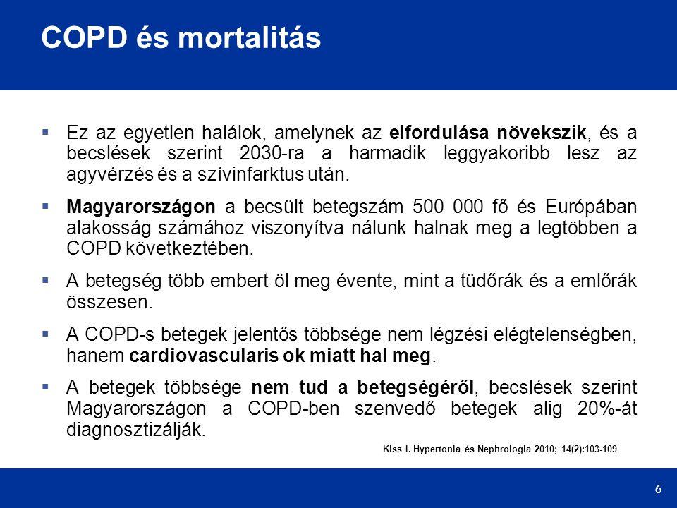 6 COPD és mortalitás  Ez az egyetlen halálok, amelynek az elfordulása növekszik, és a becslések szerint 2030-ra a harmadik leggyakoribb lesz az agyvé