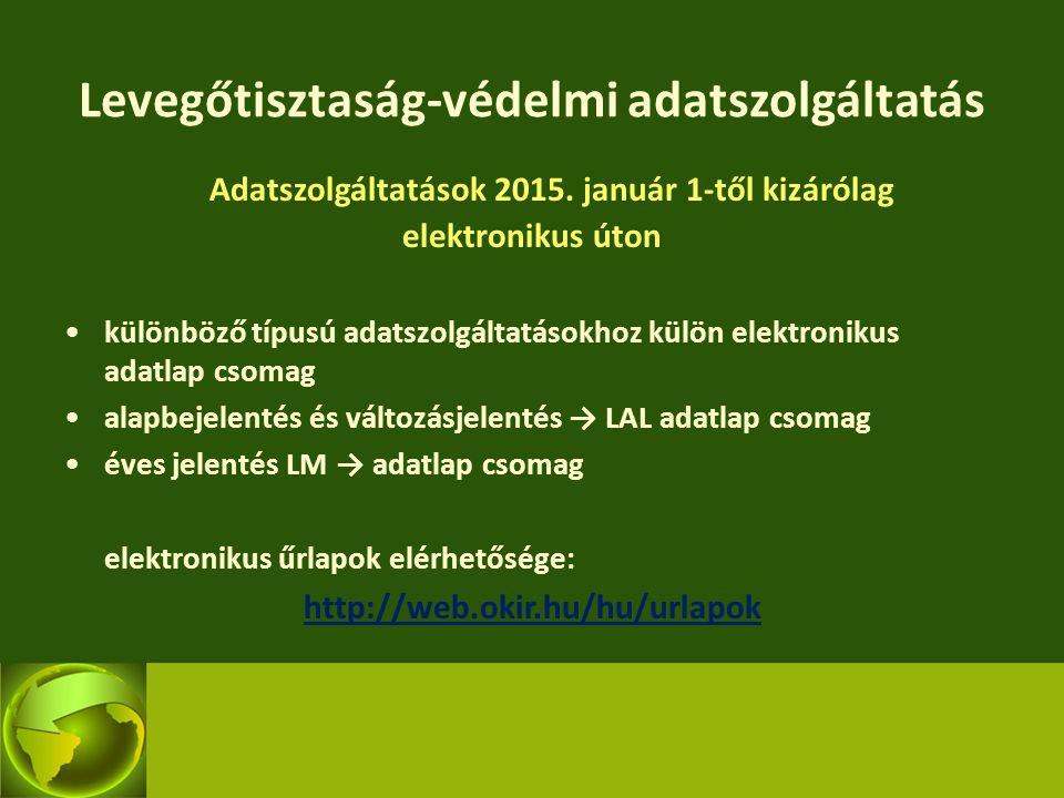 Levegőtisztaság-védelmi adatszolgáltatás Adatszolgáltatások 2015. január 1-től kizárólag elektronikus úton különböző típusú adatszolgáltatásokhoz külö