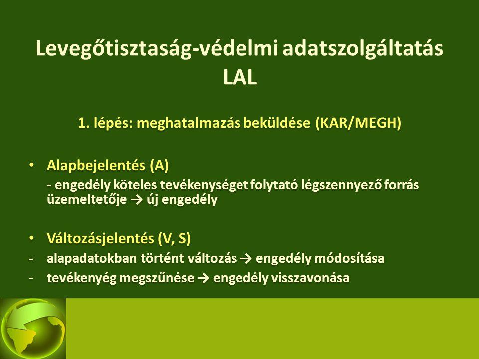 Levegőtisztaság-védelmi adatszolgáltatás LAL 1. lépés: meghatalmazás beküldése (KAR/MEGH) Alapbejelentés (A) - engedély köteles tevékenységet folytató