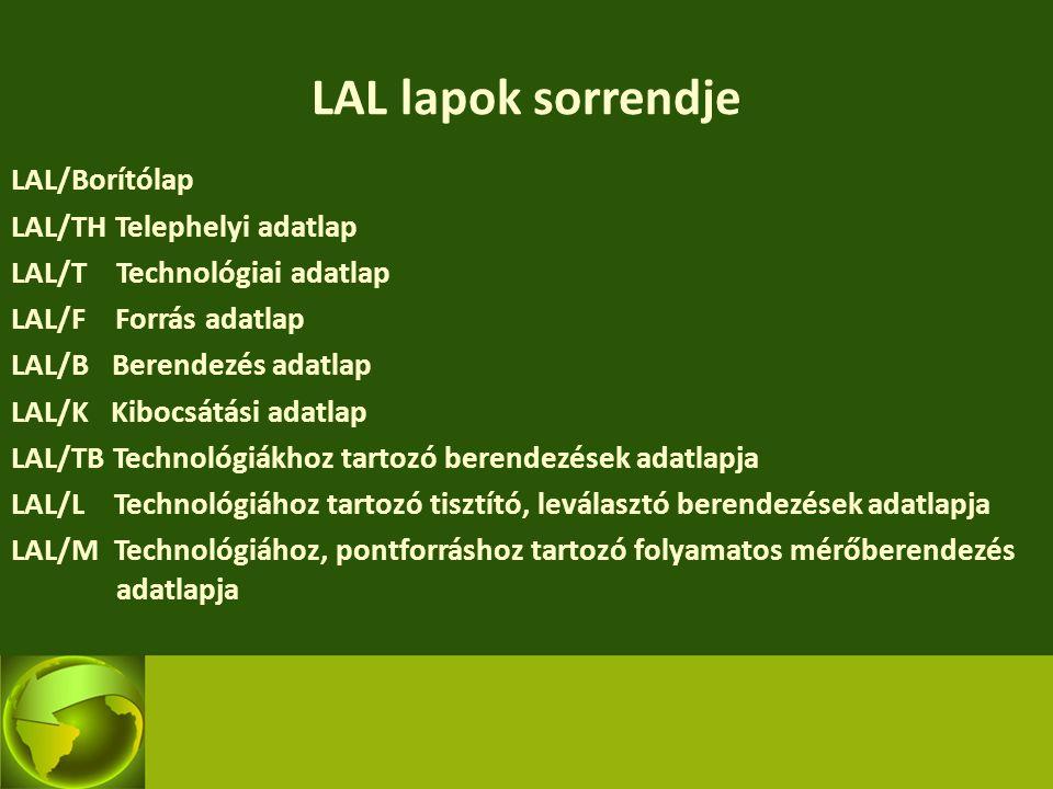 LAL lapok sorrendje LAL/Borítólap LAL/TH Telephelyi adatlap LAL/T Technológiai adatlap LAL/F Forrás adatlap LAL/B Berendezés adatlap LAL/K Kibocsátási