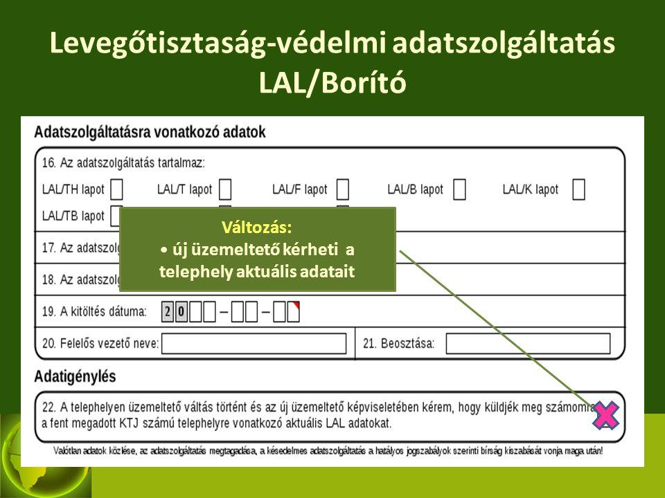 Levegőtisztaság-védelmi adatszolgáltatás LAL/Borító Változás: új üzemeltető kérheti a telephely aktuális adatait