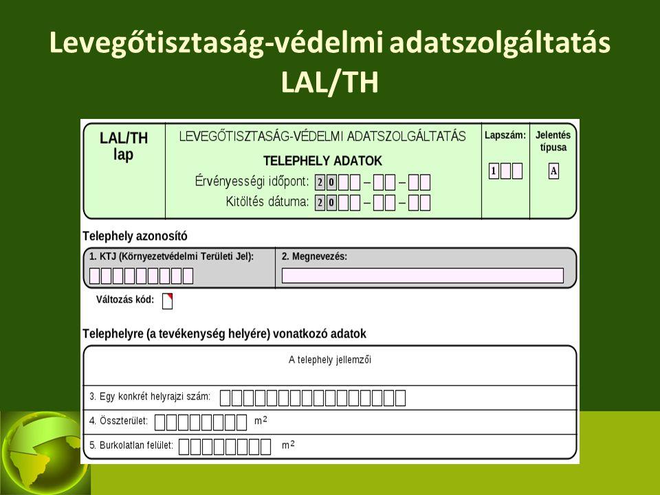 Levegőtisztaság-védelmi adatszolgáltatás LAL/TH