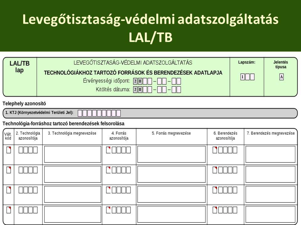 Levegőtisztaság-védelmi adatszolgáltatás LAL/TB