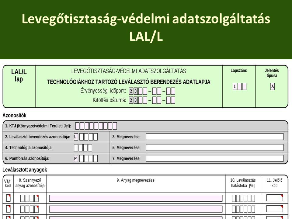 Levegőtisztaság-védelmi adatszolgáltatás LAL/L