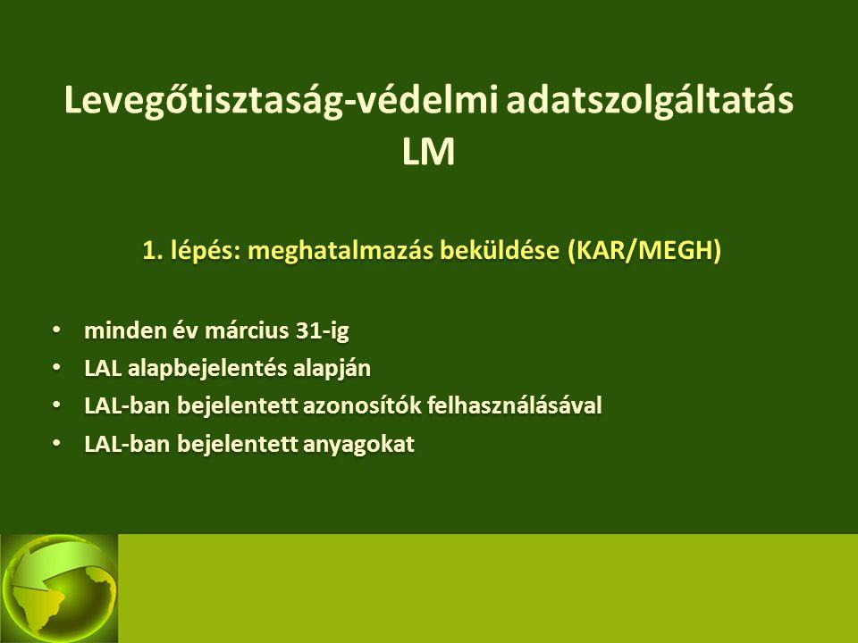 Levegőtisztaság-védelmi adatszolgáltatás LM 1. lépés: meghatalmazás beküldése (KAR/MEGH) minden év március 31-ig LAL alapbejelentés alapján LAL-ban be
