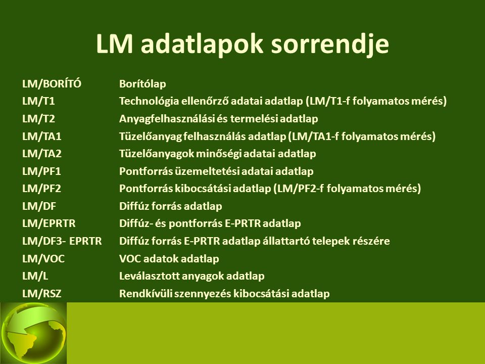 LM adatlapok sorrendje LM/BORÍTÓBorítólap LM/T1Technológia ellenőrző adatai adatlap (LM/T1-f folyamatos mérés) LM/T2Anyagfelhasználási és termelési ad