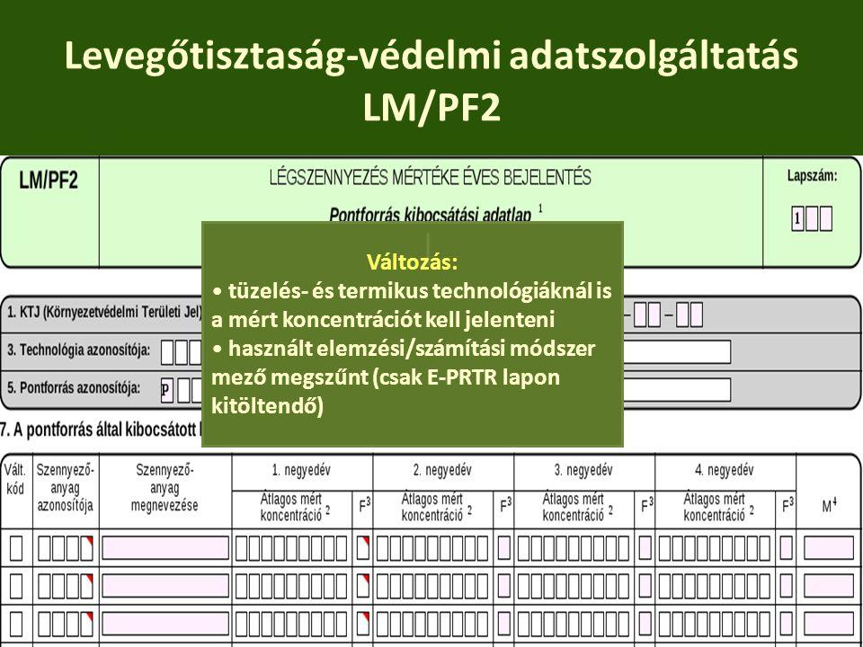 Levegőtisztaság-védelmi adatszolgáltatás LM/PF2 Változás: tüzelés- és termikus technológiáknál is a mért koncentrációt kell jelenteni használt elemzés