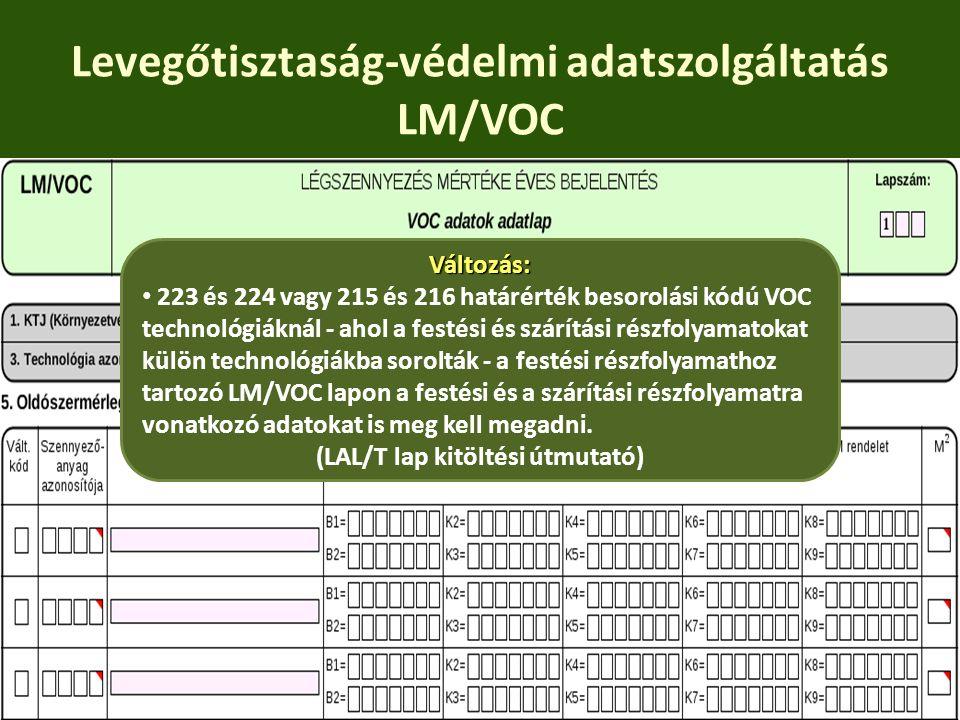 Levegőtisztaság-védelmi adatszolgáltatás LM/VOC Változás: 223 és 224 vagy 215 és 216 határérték besorolási kódú VOC technológiáknál - ahol a festési é