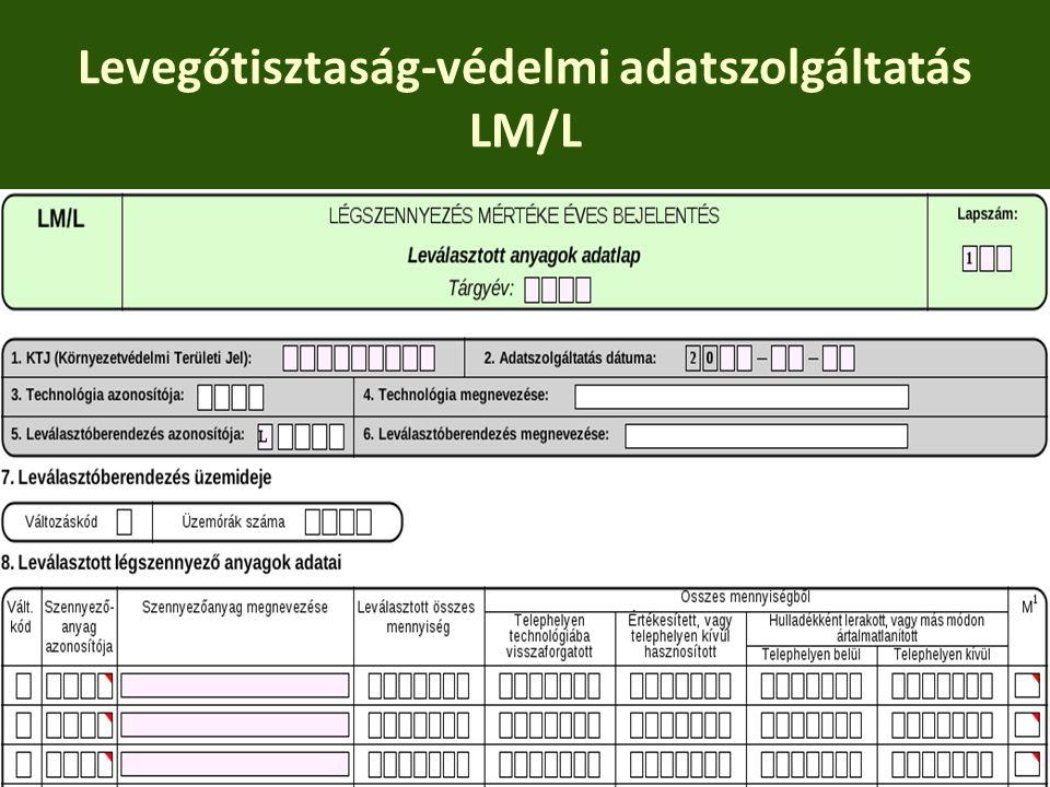 Levegőtisztaság-védelmi adatszolgáltatás LM/L