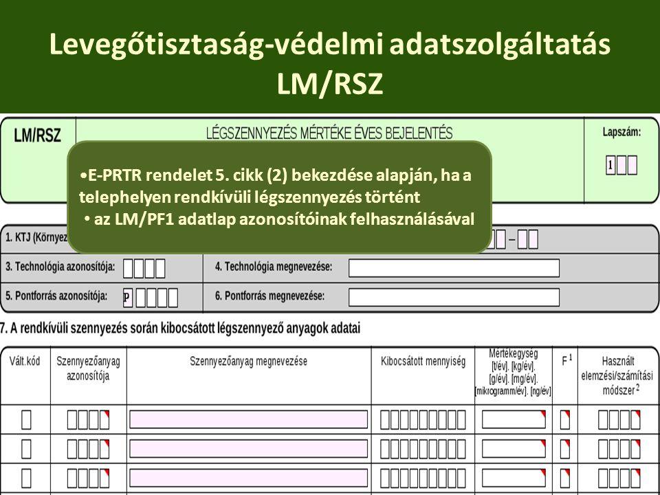 Levegőtisztaság-védelmi adatszolgáltatás LM/RSZ E-PRTR rendelet 5. cikk (2) bekezdése alapján, ha a telephelyen rendkívüli légszennyezés történt az LM