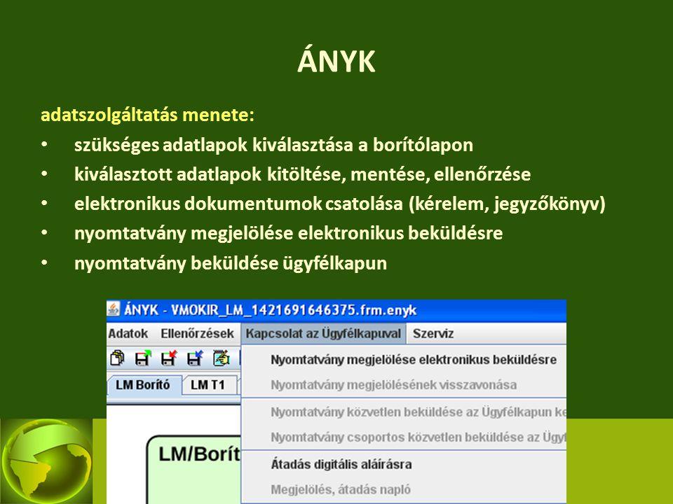 ÁNYK adatszolgáltatás menete: szükséges adatlapok kiválasztása a borítólapon kiválasztott adatlapok kitöltése, mentése, ellenőrzése elektronikus dokum