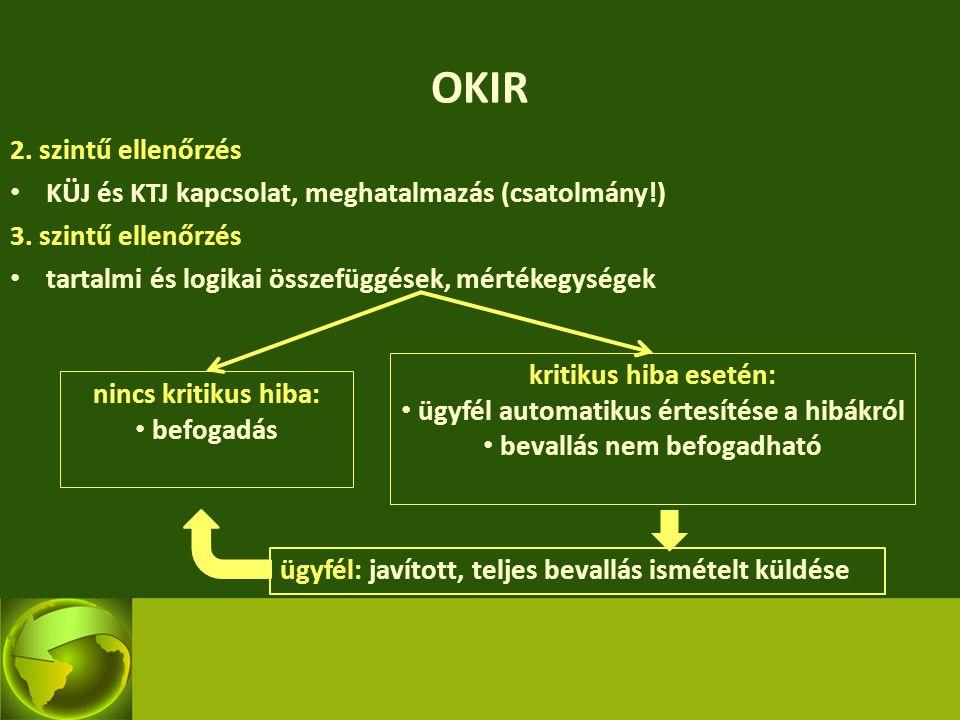 OKIR 2. szintű ellenőrzés KÜJ és KTJ kapcsolat, meghatalmazás (csatolmány!) 3. szintű ellenőrzés tartalmi és logikai összefüggések, mértékegységek nin
