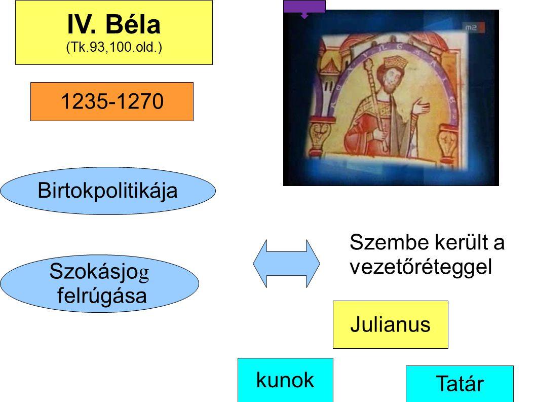 Birtokpolitikája Szokásjo g felrúgása kunok IV. Béla (Tk.93,100.old.) Szembe került a vezetőréteggel Tatár Julianus 1235-1270