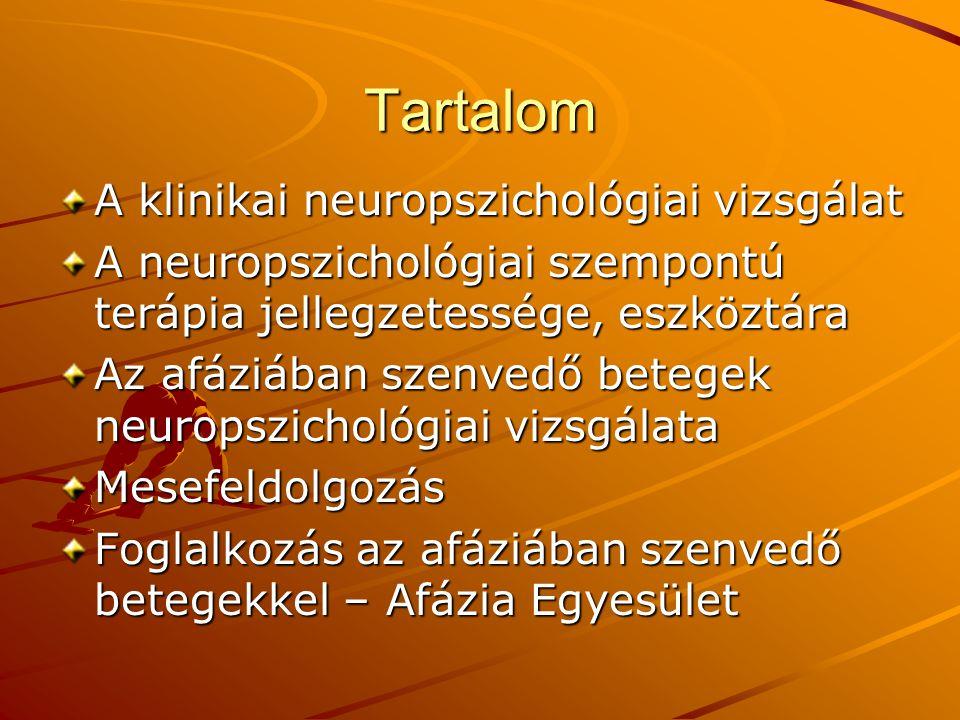 Tartalom A klinikai neuropszichológiai vizsgálat A neuropszichológiai szempontú terápia jellegzetessége, eszköztára Az afáziában szenvedő betegek neuropszichológiai vizsgálata Mesefeldolgozás Foglalkozás az afáziában szenvedő betegekkel – Afázia Egyesület