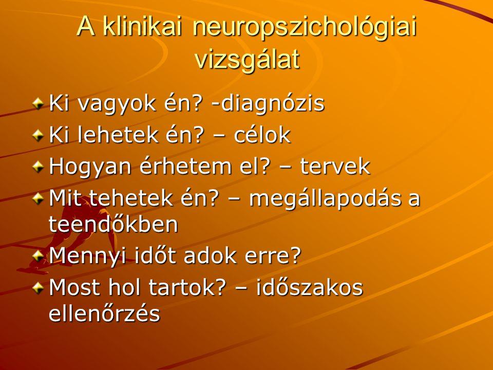 A klinikai neuropszichológiai vizsgálat Ki vagyok én.