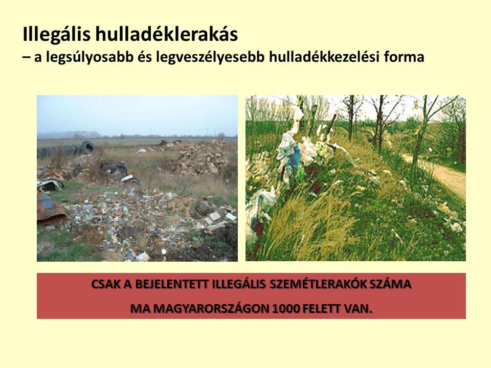 Illegális hulladéklerakás – a legsúlyosabb és legveszélyesebb hulladékkezelési forma CSAK A BEJELENTETT ILLEGÁLIS SZEMÉTLERAKÓK SZÁMA MA MAGYARORSZÁGO