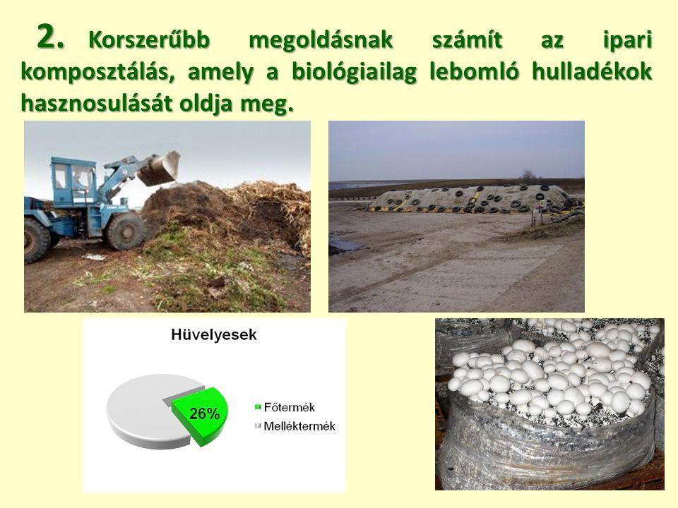 Korszerűbb megoldásnak számít az ipari komposztálás, amely a biológiailag lebomló hulladékok hasznosulását oldja meg. Korszerűbb megoldásnak számít az
