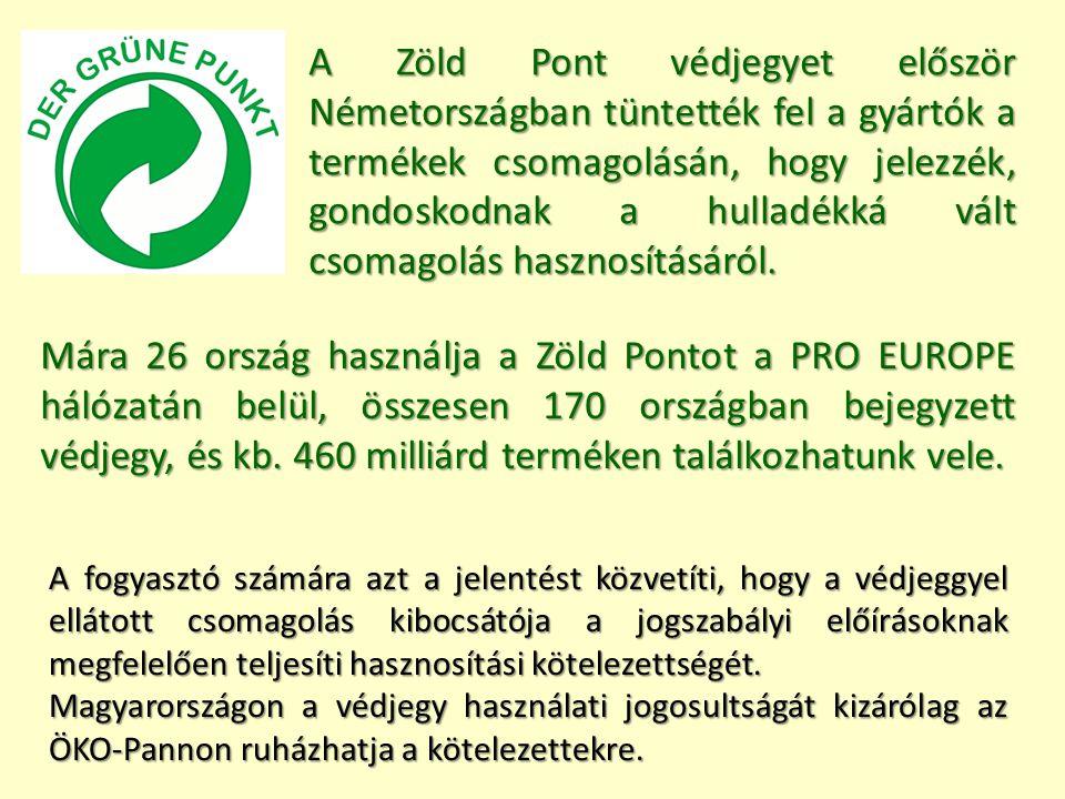 Mára 26 ország használja a Zöld Pontot a PRO EUROPE hálózatán belül, összesen 170 országban bejegyzett védjegy, és kb. 460 milliárd terméken találkozh