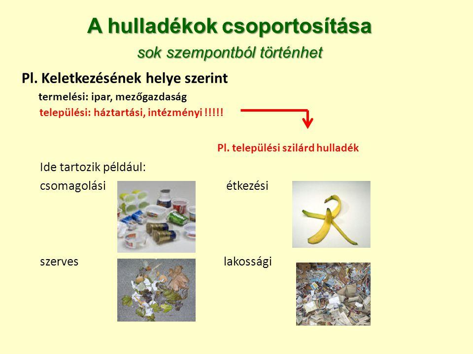 Pl. települési szilárd hulladék Ide tartozik például: csomagolási étkezési szerves lakossági A hulladékok csoportosítása sok szempontból történhet Pl.