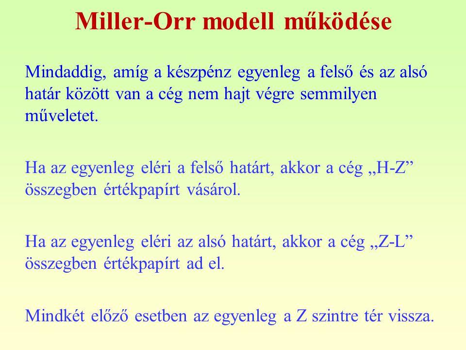 Miller-Orr modell működése Mindaddig, amíg a készpénz egyenleg a felső és az alsó határ között van a cég nem hajt végre semmilyen műveletet. Ha az egy