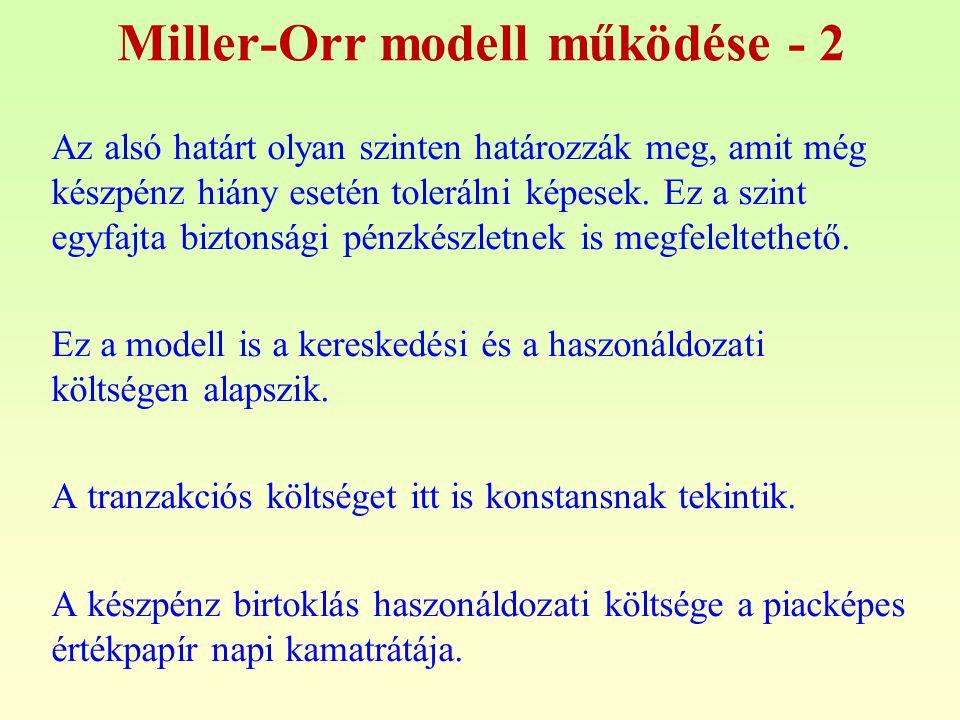 Miller-Orr modell működése - 2 Az alsó határt olyan szinten határozzák meg, amit még készpénz hiány esetén tolerálni képesek. Ez a szint egyfajta bizt
