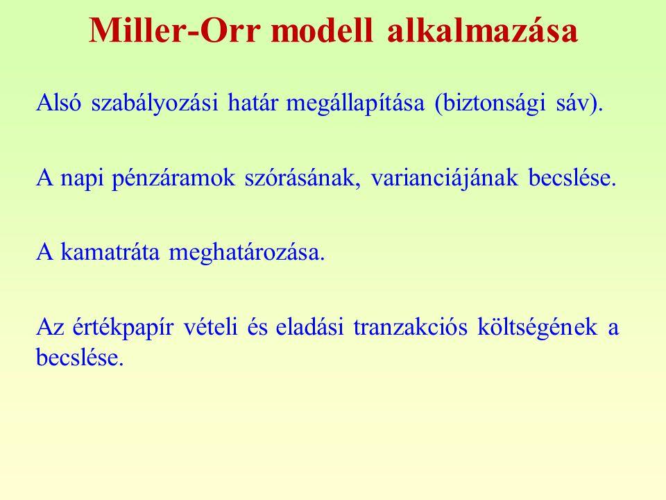 Miller-Orr modell alkalmazása Alsó szabályozási határ megállapítása (biztonsági sáv). A napi pénzáramok szórásának, varianciájának becslése. A kamatrá