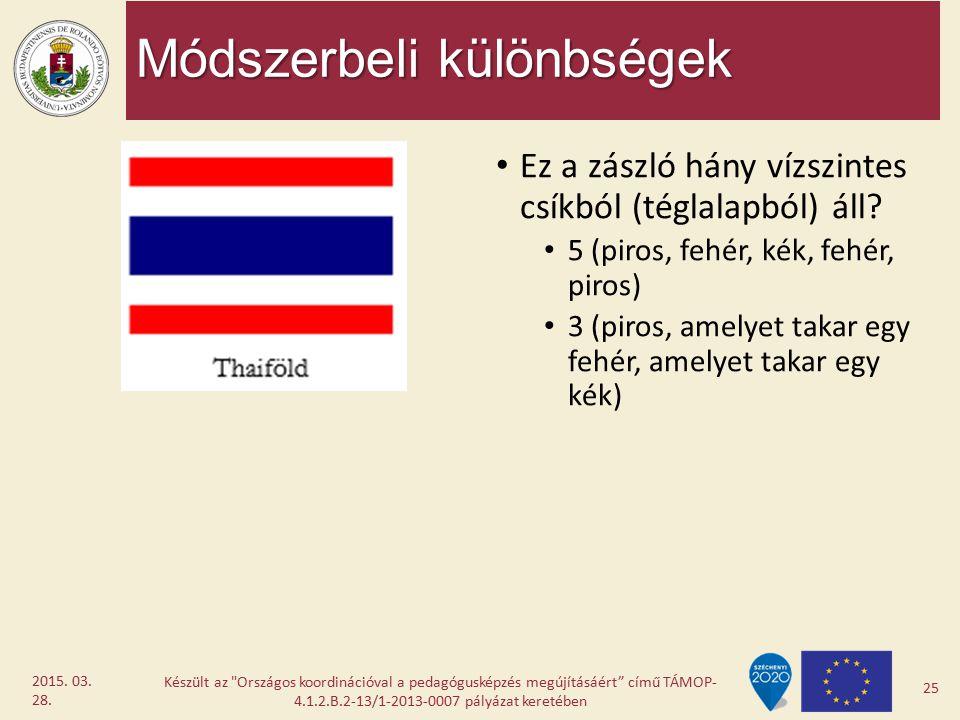 Módszerbeli különbségek Ez a zászló hány vízszintes csíkból (téglalapból) áll? 5 (piros, fehér, kék, fehér, piros) 3 (piros, amelyet takar egy fehér,