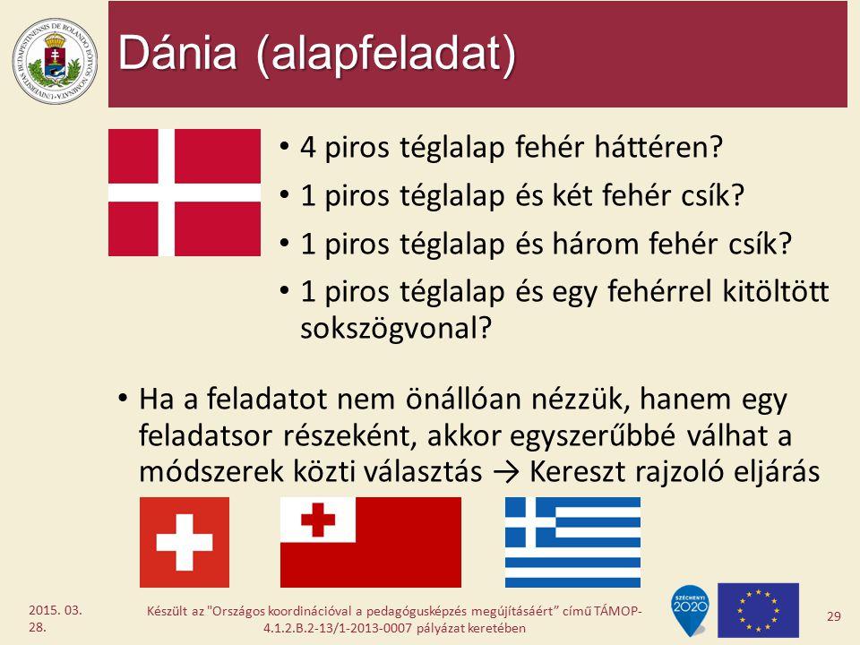 Dánia (alapfeladat) 4 piros téglalap fehér háttéren? 1 piros téglalap és két fehér csík? 1 piros téglalap és három fehér csík? 1 piros téglalap és egy