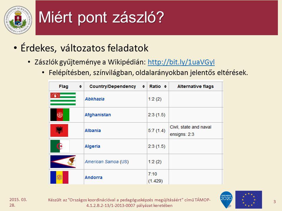 Miért pont zászló? Érdekes, változatos feladatok Zászlók gyűjteménye a Wikipédián: http://bit.ly/1uaVGylhttp://bit.ly/1uaVGyl Felépítésben, színvilágb