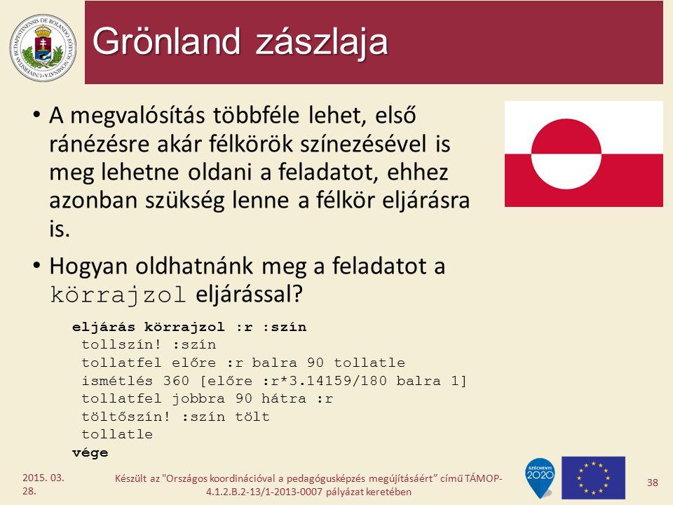 Grönland zászlaja A megvalósítás többféle lehet, első ránézésre akár félkörök színezésével is meg lehetne oldani a feladatot, ehhez azonban szükség le
