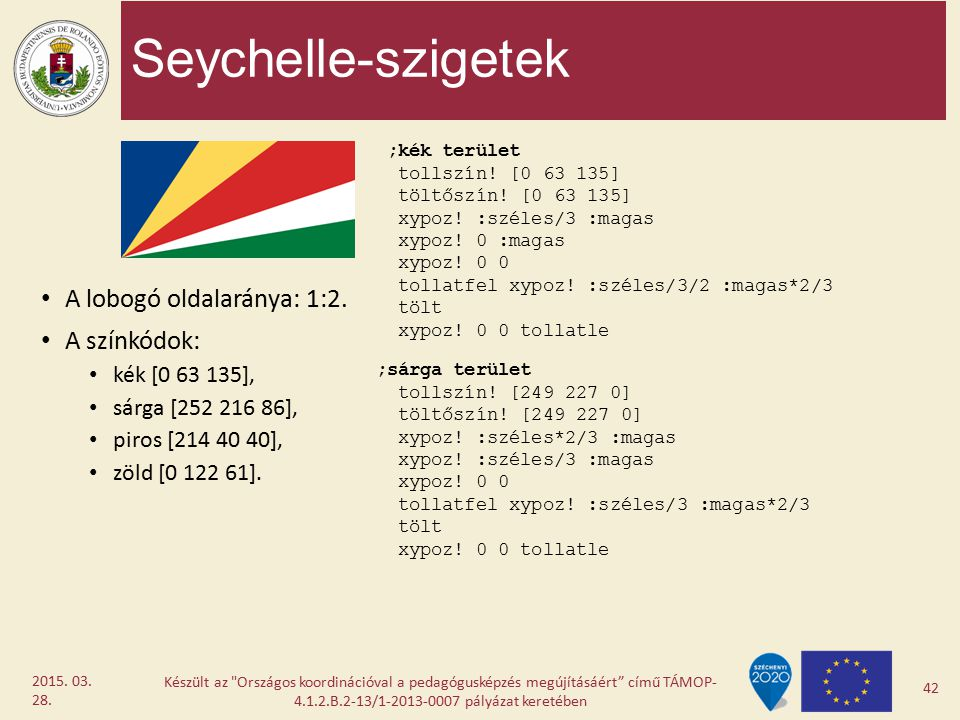 Seychelle-szigetek A lobogó oldalaránya: 1:2. A színkódok: kék [0 63 135], sárga [252 216 86], piros [214 40 40], zöld [0 122 61]. Készült az