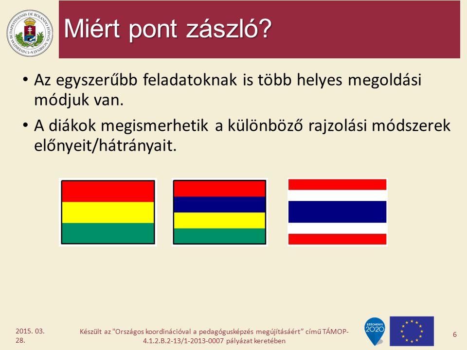 Miért pont zászló? Az egyszerűbb feladatoknak is több helyes megoldási módjuk van. A diákok megismerhetik a különböző rajzolási módszerek előnyeit/hát