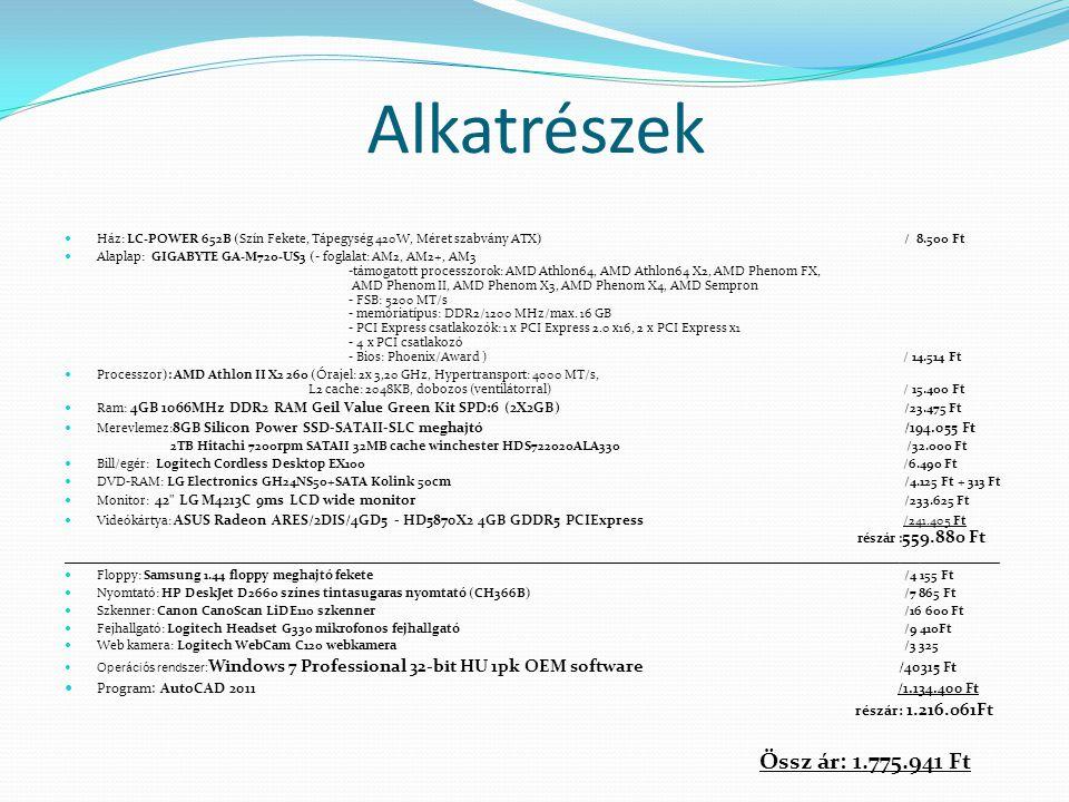 Alkatrészek Ház: LC-POWER 652B (Szín Fekete, Tápegység 420W, Méret szabvány ATX) / 8.500 Ft Alaplap: GIGABYTE GA-M720-US3 (- foglalat: AM2, AM2+, AM3