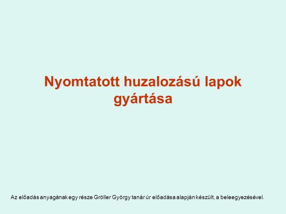 Nyomtatott huzalozású lapok gyártása Az előadás anyagának egy része Gröller György tanár úr előadása alapján készült, a beleegyezésével.