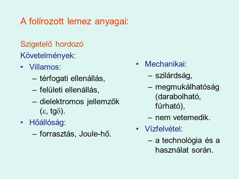 A folírozott lemez anyagai: Szigetelő hordozó Követelmények: Villamos: –térfogati ellenállás, –felületi ellenállás, –dielektromos jellemzők ( , tg 