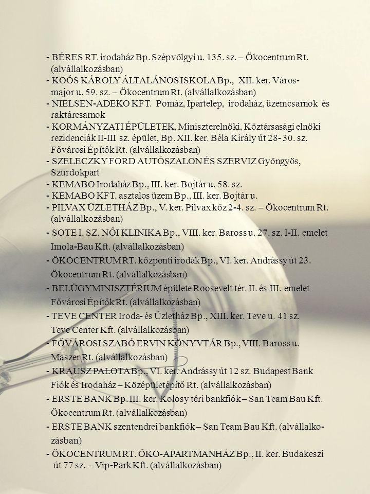 - VARPEX RT.Logisztikai Központ Bp. III. ker. Csillaghegyi út 13.