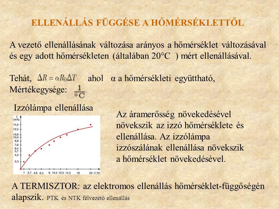 ELLENÁLLÁS FÜGGÉSE A HŐMÉRSÉKLETTŐL A vezető ellenállásának változása arányos a hőmérséklet változásával és egy adott hőmérsékleten (általában 20°C )