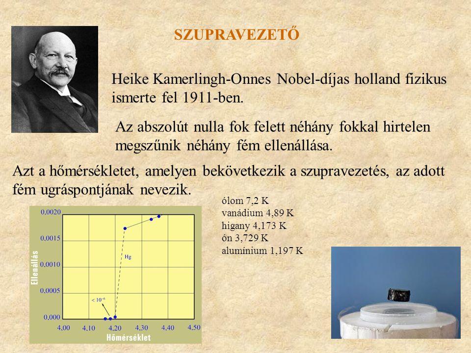 SZUPRAVEZETŐ Heike Kamerlingh-Onnes Nobel-díjas holland fizikus ismerte fel 1911-ben. Az abszolút nulla fok felett néhány fokkal hirtelen megszűnik né