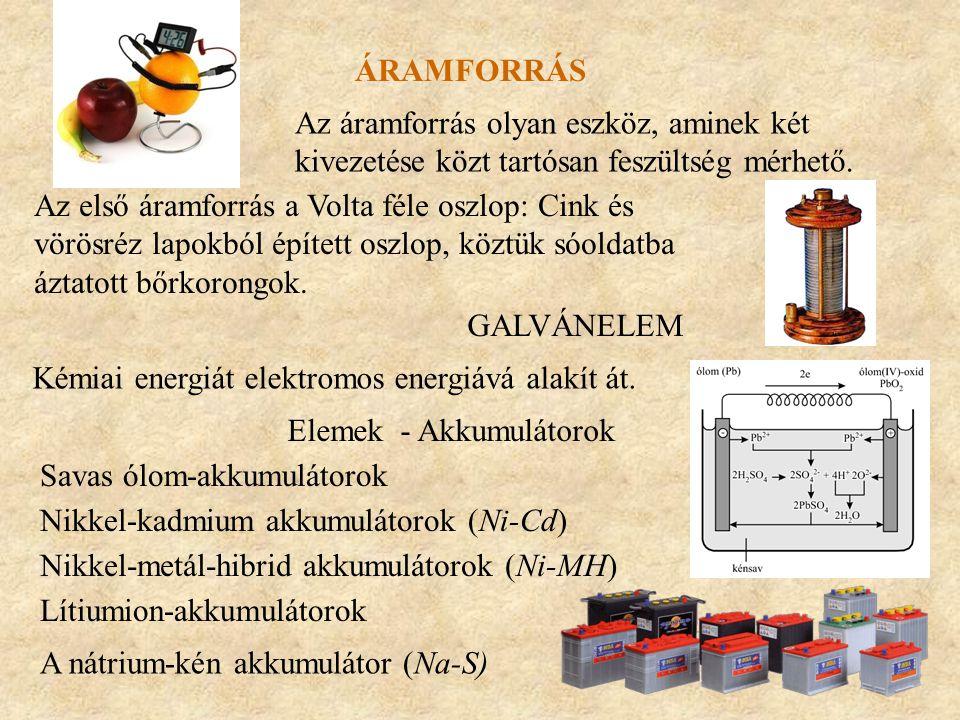 ÁRAMFORRÁS Az áramforrás olyan eszköz, aminek két kivezetése közt tartósan feszültség mérhető. Az első áramforrás a Volta féle oszlop: Cink és vörösré