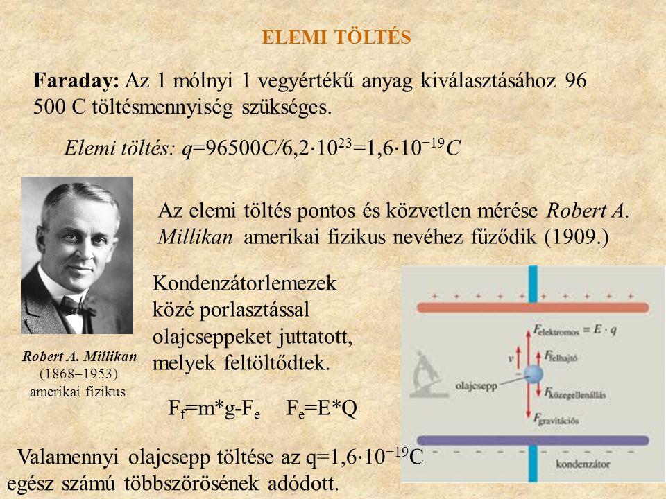 Faraday: Az 1 mólnyi 1 vegyértékű anyag kiválasztásához 96 500 C töltésmennyiség szükséges. ELEMI TÖLTÉS Elemi töltés: q=96500C/6,2 ⋅ 10 23 =1,6 ⋅ 10