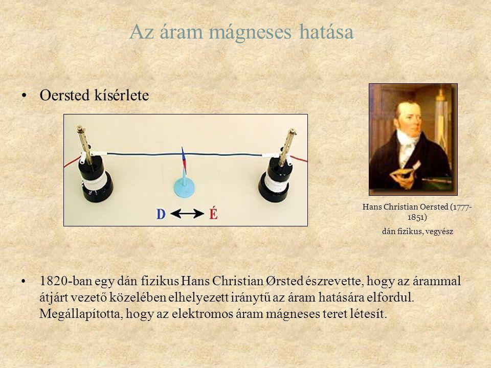 Az áram mágneses hatása Oersted kísérlete 1820-ban egy dán fizikus Hans Christian Ørsted észrevette, hogy az árammal átjárt vezető közelében elhelyeze
