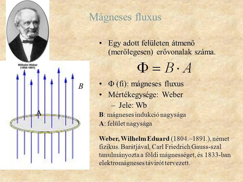 Mágneses fluxus Egy adott felületen átmenő (merőlegesen) erővonalak száma.  (fi): mágneses fluxus Mértékegysége: Weber –Jele: Wb B: mágneses indukció