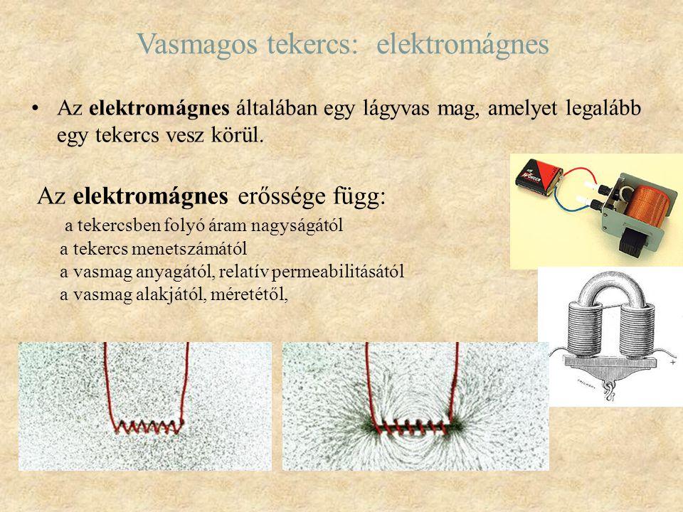 Vasmagos tekercs: elektromágnes Az elektromágnes általában egy lágyvas mag, amelyet legalább egy tekercs vesz körül. Az elektromágnes erőssége függ: a